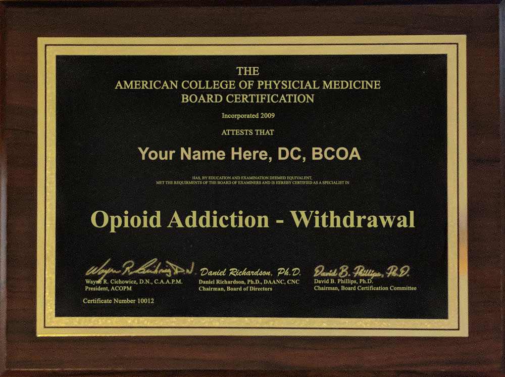 Opioid Addiction - Withdrawal Sample Plaque